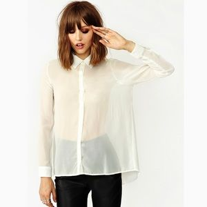 Nasty Gal Back Off Blouse Sheer Button Down Shirt